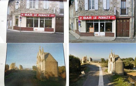 Les photographies de Raymond Depardon, à gauche, comparées aux vues de Google street view, à droite, laissent songeur et perplexe.