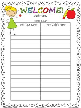 This is an Open House Sign In Sheet to keep track of the families that attend…