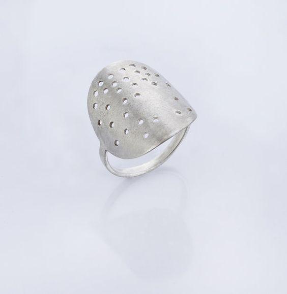 Sterling Silver Ring Artisan Silver Ring Statement by SenayAkin