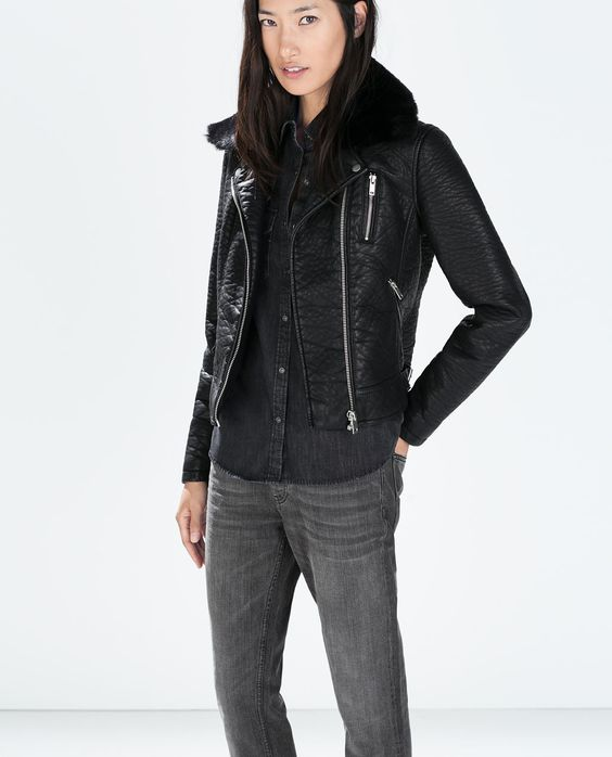 FAUX LEATHER JACKET WITH DETACHABLE FUR COLLAR-View all-Jackets