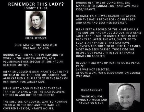 Irene Sendler- The True Nobel Prize Winner