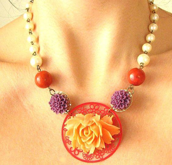 I Die!  Coral Necklace, Flower Jewelry, Peach Necklace, Bridesmaid Jewelry, Rose Necklace, Pearl Jewelry. $49.00, via Etsy.