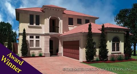 The Melito Home Plan Is A Mediterranean Styled Narrow Courtyard Home 40 Wide It Has Three Bedrooms Four Ba Courtyard House Mediterranean Homes House Plans