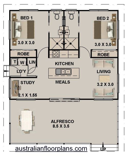 2 Bed Study Granny Flat House Plan 965 Ft Do Bathroom Like The Apt Version Small Dining Table Bedroom House Plans Tiny House Plans Tiny House Floor Plans