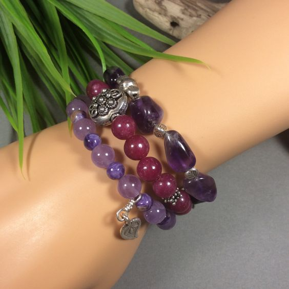 Russian Charoite-Lilac Amethyst-Fine Sterling Beads and Charm-Stretch Bracelet-6 inch Wrist-Leaf charm with tribal design by IsaStone on Etsy