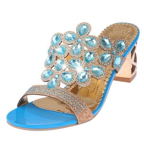new 2016 Summer Fashion Women Big Rhinestone Cut-outs High Heel Sandals Ladies Party Shoes Woman Beach Slides