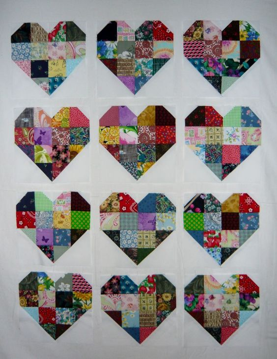 Patchwork Heart Quilt Blocks: