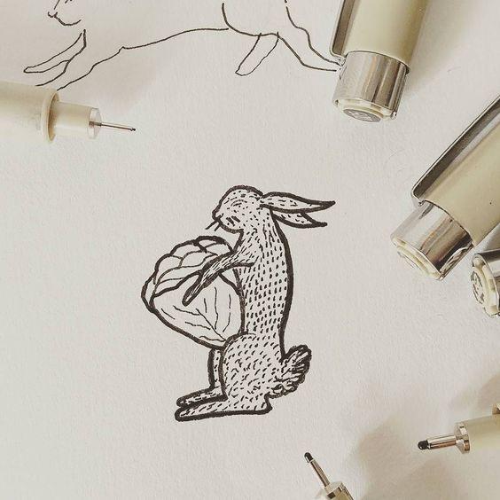 O coelhinho foi à horta... Quem sabe? // The little bunny.... Who knows? . . . . . . #tradição #designcultura #contos #estórias #fabulas #ilustracao #illustrations #designculture #esboço #sketch #ink #drawing