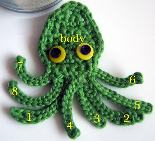 Kraken Octopus Squid Applique Free Crochet Pattern on mooglyblog.com