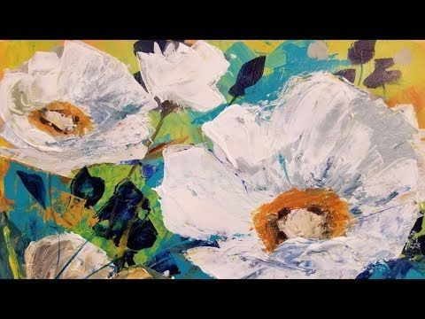 Easy Abstract Contemporary Floral Palette Knife Tutorial Live
