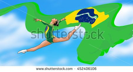 Beautiful young gymnast woman in green sportswear dress with Brazilian flag, doing art gymnastics element split leap, split jumps in the air. Blue sky background. Abstract Illustration. Hand Drawn. - stock photo