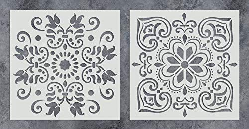 Amazon Com Gss Designs Pack Of 2 Stencils Set 12x12 Inch Painting For Wood Wall Furniture Floor Tile Geometric Wall Stencil Large Wall Stencil Stencils Wall