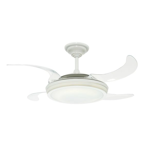 Shop Hunter Fanaway Retractable Blade 48 In White Downrod Mount Ceiling Fan With Light Kit And Remote Control At L Fan Light Ceiling Fan With Light Ceiling Fan