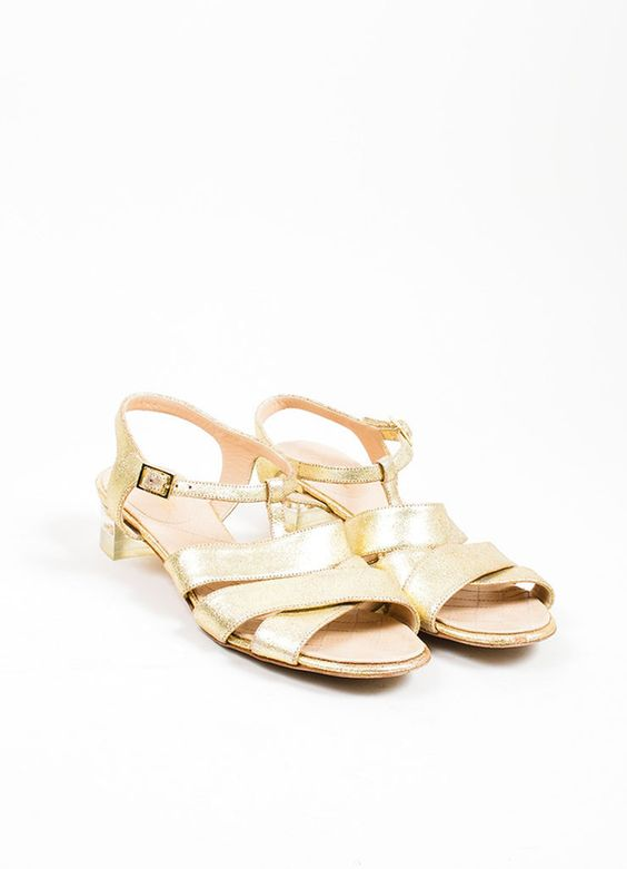 Gold Chanel Metallic Leather Cross Ankle Strap Sandals