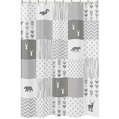 Sweet Jojo Designs Woodsy Shower Curtain In Grey White Sweet