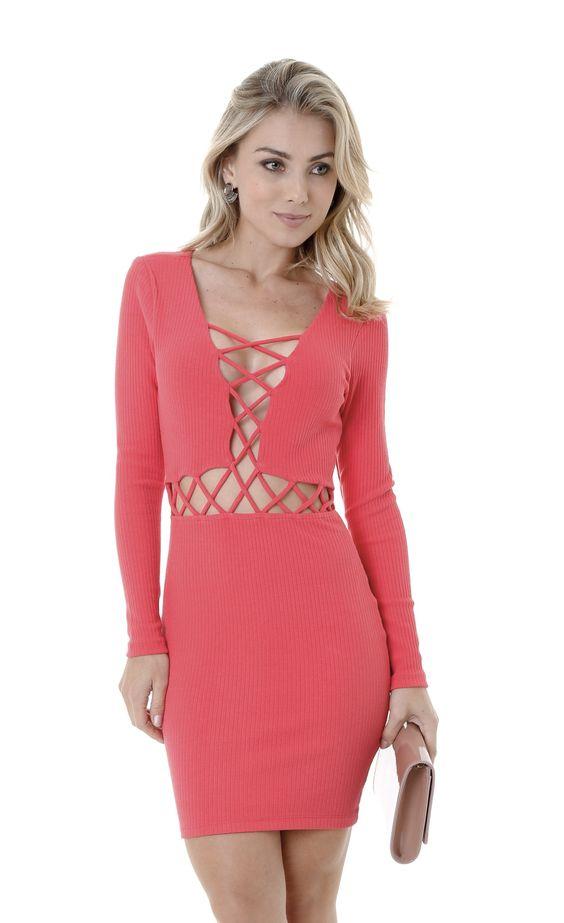 Vestido Lov.it ML Vazado Frontal