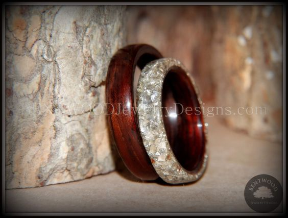 Bentwood Kingwood Wood Wedding Rings, Full Glass Inlay Handcrafted - Bentwood Jewelry Designs - Custom Handcrafted Bent Wood Rings