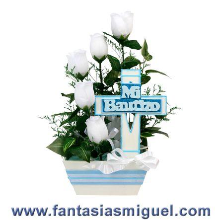 Centro de mesa p bautizo bco azul como hacer manualidades fantasias miguel centerpice - Como hacer centros de mesa para bautizo ...