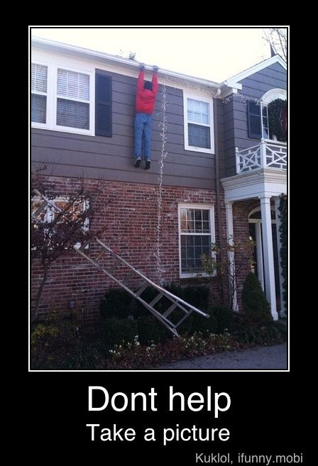 When I was in elementary school, my dad tore his calf muscle. It was around Christmas so my uncle came over to put our lights up. My older sister was outside. My uncles ladder fell. Erin went to get dad very calmly. He sensed no hurry and didn't come out for awhile. Meanwhile, my uncle is hanging there for 10 minutes.
