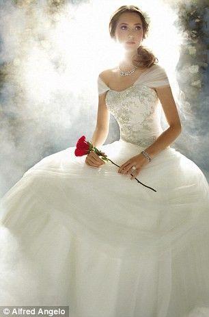 LITERALLY MY BRIDE INSPIRATION SINCE HIGHSCHOOL BECAUSE OF HE SINGLE ROSE - disney princess wedding dresses