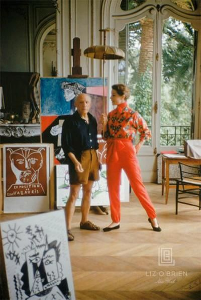 Picasso With Bettina Graziani In His Studio Photographed for LIFE in 1955.