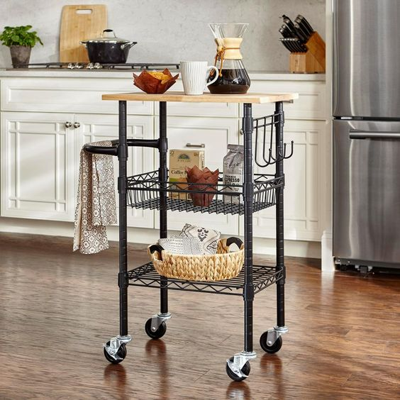 StyleWell Gatefield Black Small Kitchen Cart with Rubber Wood Top-H18030601 - The Home Depot