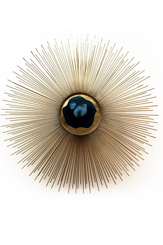 Luxury Designer Jewelry Inspired 'Gold Sunburst Blue Agate' Wall Sconce, Wall…