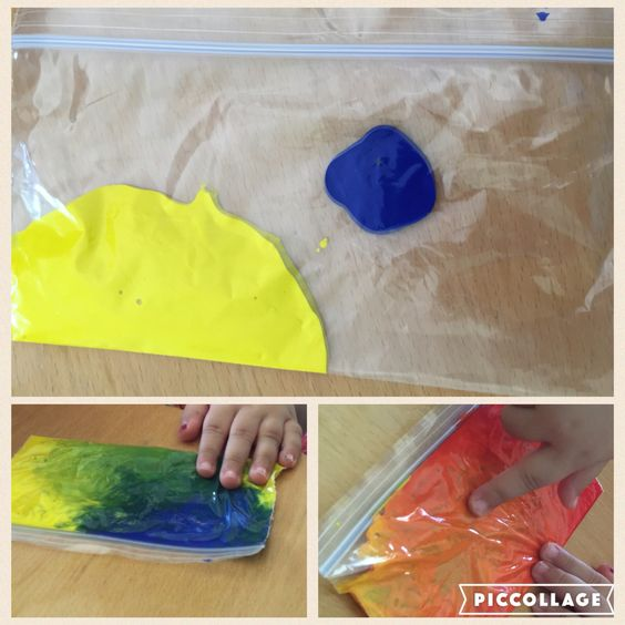 Whilst doing mess free (for a change) sensory activity with a baby I also set up some small zip lock bags with yellow and blue / yellow and red paint. The older child had already noticed that when the baby had mixed up all the colours together the paint went brown. The older child was surprised as we made green especially as we have no green paint!