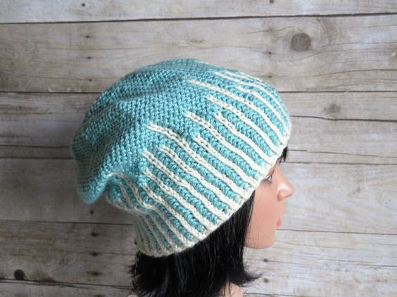 Icicles Beanie, Slouchy Hat in Aqua and Winter White, Hand Knit Hat with  Blue and White Stripes, Light Turquoise Beanie, Blue Winter Hat
