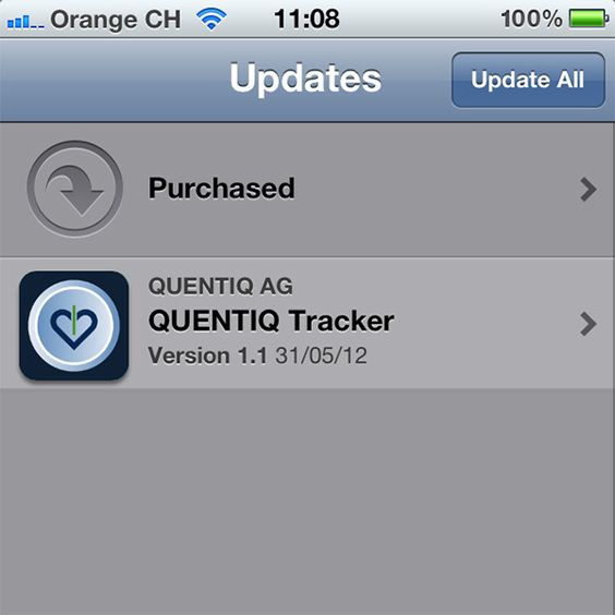iPhone QUENTIQ Tracker app - update version 1.1. #fitness #mobile #monitoring #tracker #iphone #q