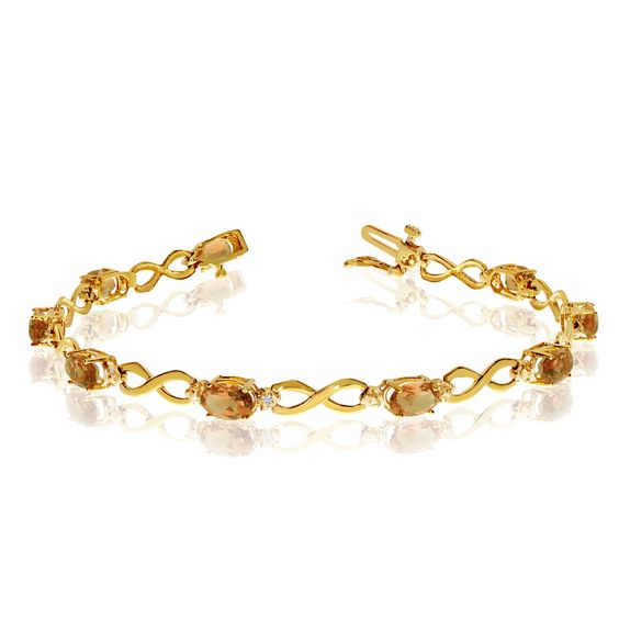 10K Yellow Gold Oval Citrine and Diamond Bracelet