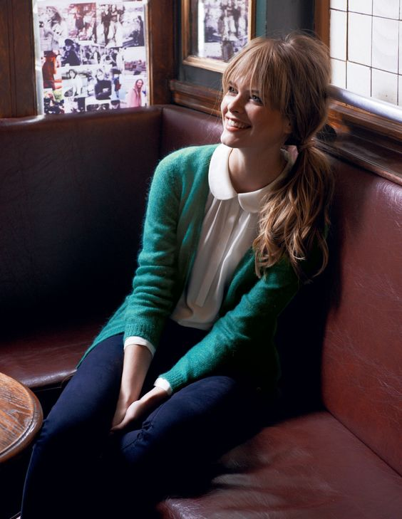 Green Mohair Cardigan + Peter Pan Collared Blouse + Navy Blue Chinos