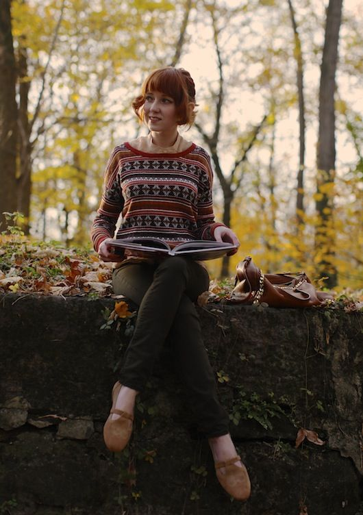 Sitting in the woods, reading a children's book, and wearing a lovely ugly sweater. The perfect activity. <3