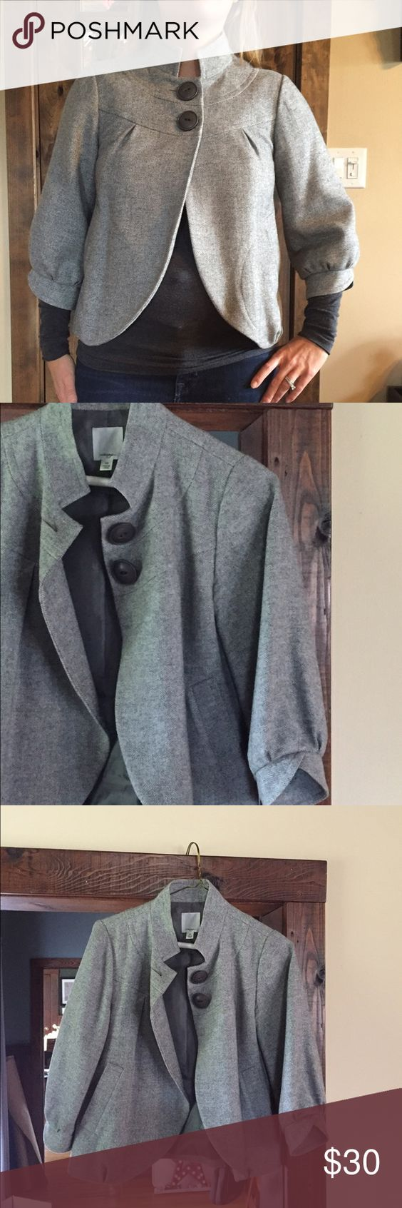 Gray jacket Cute gray jacket, simple and classy with 2 buttons. Only been worn a couple of times, like brand new! Halogen Jackets & Coats
