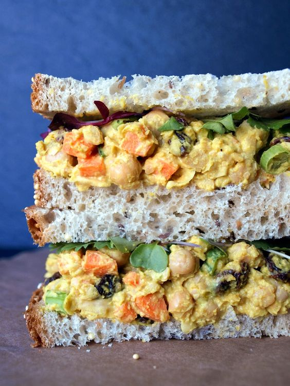 Chickpea salad sandwich, Chickpea salad and Salad sandwich on