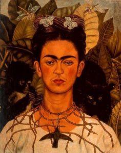 Autorretrato con col de espinas y colibrí - (Frida Kahlo)