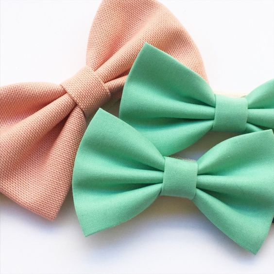Bow ties Pastel Collection • Green Mint & Rose Quartz