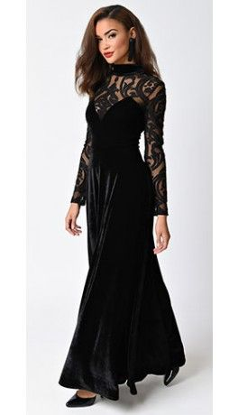 Folter Vintage Style Black Lace & Velvet Secret Society Sleeved Long Gown