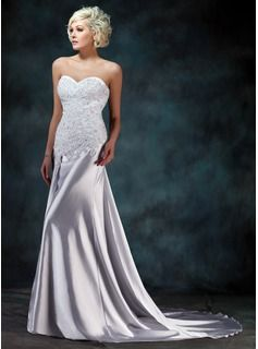 Trumpet/Mermaid Sweetheart Watteau Train Charmeuse Wedding Dress With Lace Beading (002000157) - JJsHouse