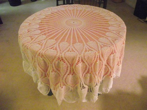 PINEAPPLE Crochetted Tablecloth72 Crochetted by KathysRetroKorner
