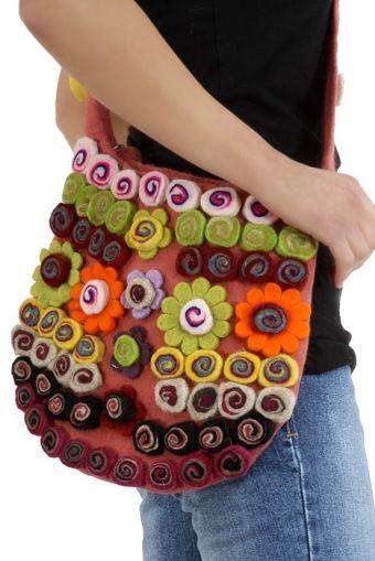 Multi coloured hippie 70s flower bag felt