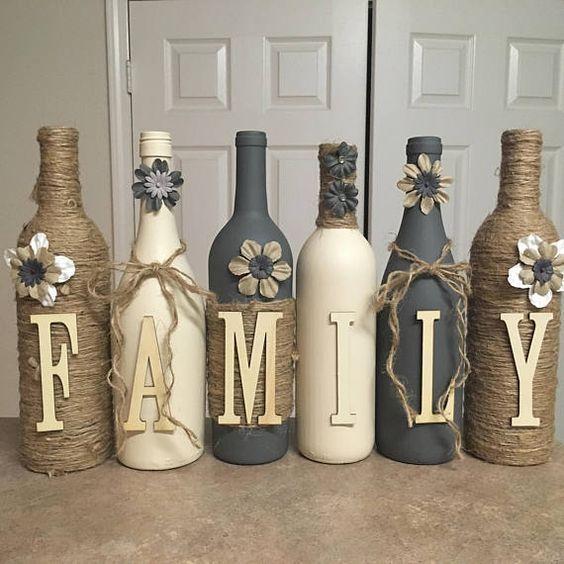 Wine bottle decor Hand painted-family-Custom decorated wine  Etsy