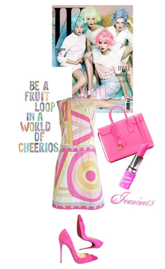 """Be a Fruit Loop in a World of Cheerios"" by jeanine65 ❤ liked on Polyvore featuring Emilio Pucci, Christian Louboutin, Yves Saint Laurent and Lime Crime"