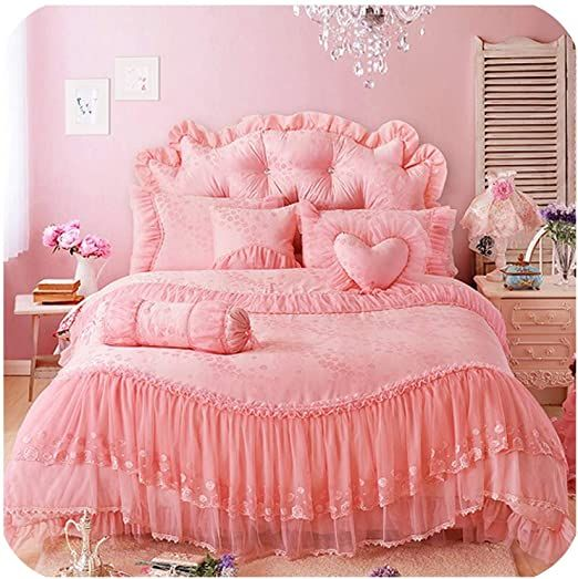 Princess Lace Cotton Jacquard Wedding Bedding Sets Queen King Size Beige Red 4 7pcs Bedskirt Pillowcase Duvet Cover Duvet Cover Sets Bedding Sets Duvet Covers