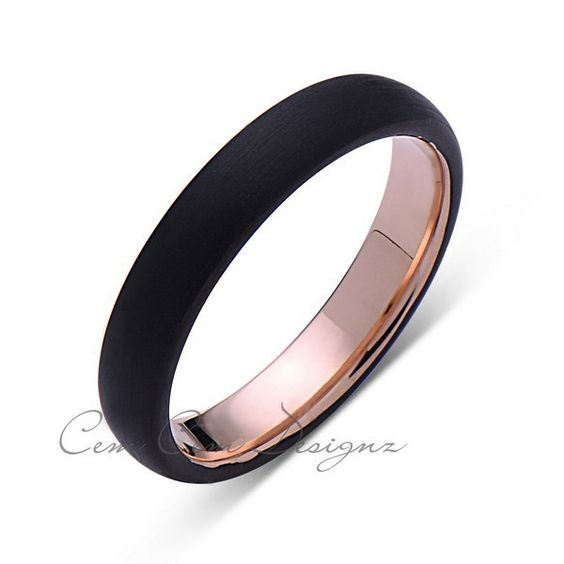4mm,Unique,Black Brushed,Rose Gold Groove,Tungsten RIng,Rose Gold,Wedding Band