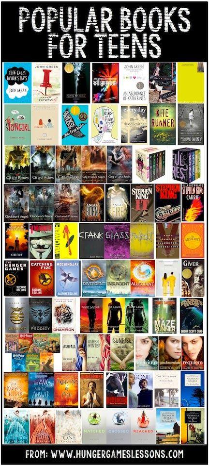 Popular books for teens on www.hungergameslessons.com
