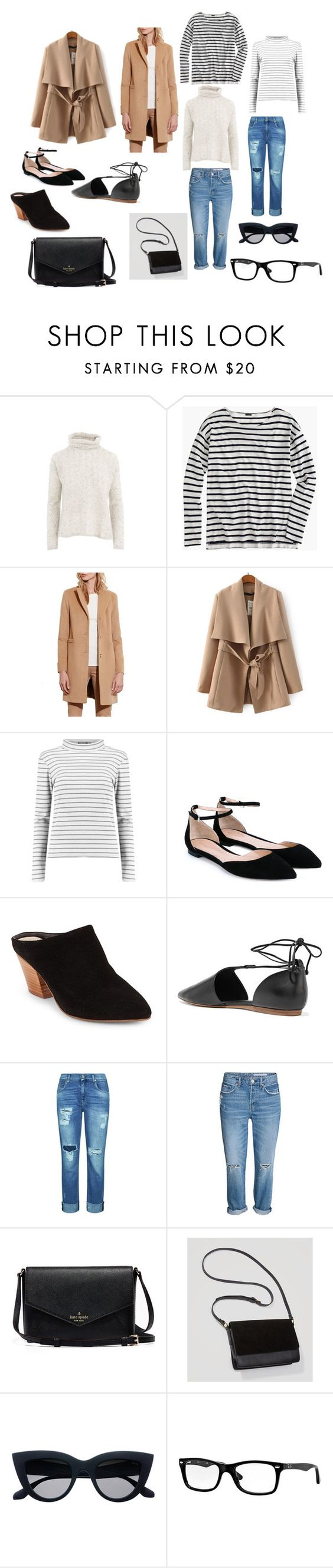 """sleek"" by classykate on Polyvore featuring Quinn, J.Crew, Lauren Ralph Lauren, Gianvito Rossi, Seychelles, Vince, 7 For All Mankind, LOFT and Ray-Ban"