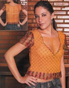 Blusa Crochet  Ocre