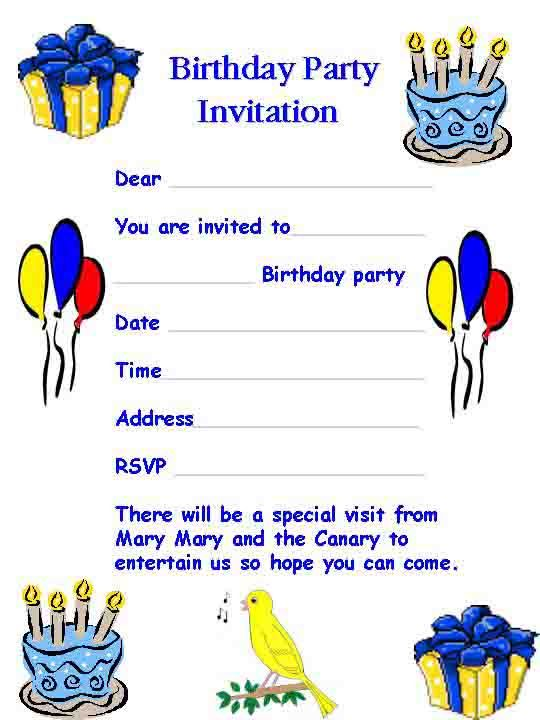 kids birthday invitation template free download word format – Party Invitation Template Word