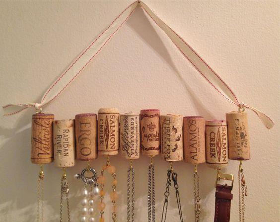 Wine Cork Necklace Rack by WhatShipsAreBuiltFor on Etsy: